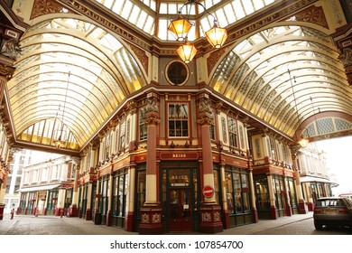 LONDON - MARCH 25 : Inside view of Leadenhall Market, Gracechurch Street, on March 25, 2012 in London, UK, The market dates back to the 14th Century but renovated In the early of 1990s.