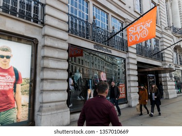 LONDON - MARCH 27, 2019: Superdry clothing Shoe Store on Regent Street in London