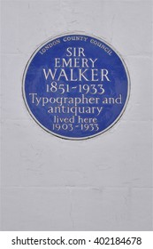 LONDON - MARCH 28, 2016. A Greater London Council blue commemorative wall plaque commemorates Sir Emery Walker who once lived at Hammersmith Terrace in west London, UK.