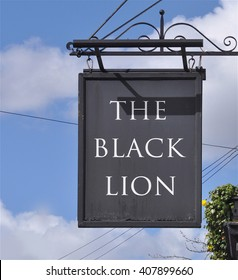 LONDON - MARCH 28, 2016. The hanging sign at The Black Lion, an ancient pub and restaurant located on the north bank of the River Thames between Hammersmith and Chiswick in west london, UK.