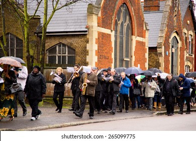 LONDON - MARCH 29TH: Unidentified people at a palm sunday procession on March the 29th, 2015, in London, England, UK. Palm sunday is an annual religious celebration.
