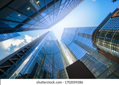 LONDON - MARCH 6, 2020: skyscrapers in perspective in business city center