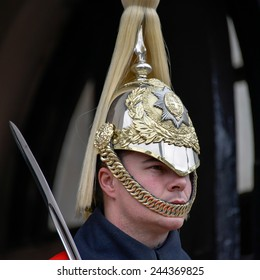 LONDON - MARCH 6 : Lifeguard of the Queens Household Cavalry on duty in London on March 6, 2013. Unidentified man.