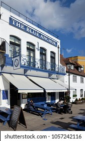 LONDON - MARCH 7, 2018. The Blue Anchor pub on Lower Mall, overlooking the River Thames at Hammersmith, west London, UK.