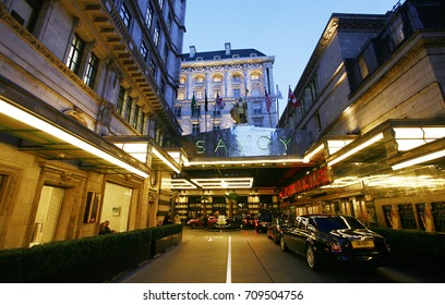 LONDON - MARCH 7: Outside view of Savoy hotel, Britain's first luxury hotel in central London, opened in 1889 and closed in 2007 for renovations and reopened in Oct 2010, on March 7, 2014, London, UK.