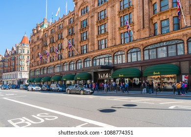 LONDON MAY 05, 2018: Harrods, now owned by the state of Qatar, is a luxury department store located on Brompton Road in Knightsbridge and a must-visit attraction for tourists visiting London
