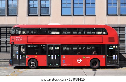 LONDON - MAY 11, 2017. A London Transport Routemaster diesel-electric hybrid double deck bus, unusually without advertising, parked at Hammersmith bus station, west London, UK.