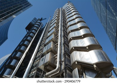 LONDON - MAY 13 2015:Lloyds Building in City of London, UK.It's Lloyds insurance headquarter also knowen as the inside-out building as it's lifts, staircases and most of the piping exposed outside.