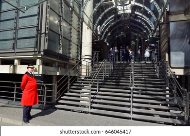 LONDON - MAY 13 2015:Lloyd's insurance headquarter building entrance in City of London, UK.The market reported a pre-tax profit of £2.107bn and a combined ratio result of 97.7 per cent for 2016.