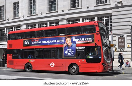 LONDON - MAY 14, 2017. A double deck bus in Regent Street appoaches Piccadilly Circus in London, UK.