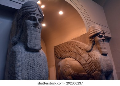 LONDON - MAY 15 2015:Human Headed Winged Lions and reliefs from Nimrud with the Balawat Gates, c. 860 BC.The Museum contain special antiques taken from Greece, Rome, Egypt and many different countries