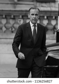 LONDON - MAY 15, 2016: ( Image digitally altered to monochrome ) Mark Carney Governor of the Bank of England seen arriving to the BBC Studios