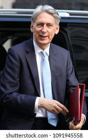 LONDON - MAY 15, 2018: Philip HammondChancellor of the Exchequer arrives to Downing Street for weekly cabinet meeting