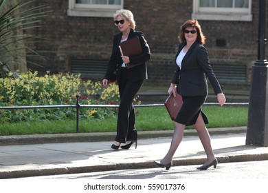 LONDON - MAY 17, 2015: Anna Soubry (L) and Education Secretary Nicky Morgan arrive for a Cabinet meeting at 10 Downing Street on May 17, 2015 in London