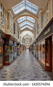 LONDON - MAY 17, 2019: Burlington arcade interior with people and luxury shops in London, England.