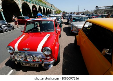 LONDON - MAY 17 : London to Brighton, Mini, Classic Car, Run in Brighton on May 17, 2015 in Brighton, UK. This annual event is organised by the London and Surrey Mini Owners Club.