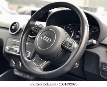 LONDON - MAY 2, 2018: Inside the drivers seat of an Audi A1 passenger vehicle in London, UK.