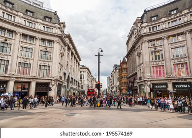 LONDON - MAY 20: Oxford Circus with unidentified people on May 20, 2014 in London. Up to over 40.000 pedestrians per hour pass the junction, it is the highest pedestrian volumes recorded in London.