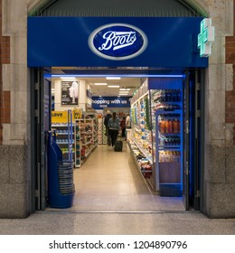 LONDON - MAY, 2018: Boots store inside Victoria Station. Boots is a beauty and pharmacy chain in the UK with many outlets.