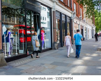 LONDON- MAY, 2018: Chelsea's Kings Road, a west London high street famous for its many high end fashion shops