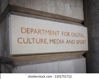 LONDON- MAY, 2018: Department for Digital Culture Media and Sport- UK government department, external sign in Westminster.