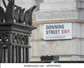 LONDON- MAY, 2018: Downing Street SW1 street sign, a major London landmark and the office and residence of the Prime Minister of the United Kingdom
