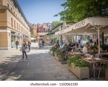 LONDON- MAY, 2018: Duke Of York Square, an upmarket fashion shopping and restaurant destination on Chelsea's Kings Road