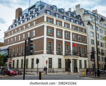 LONDON- MAY, 2018: Embassy for the Peoples Republic of China on Portland Place in London.