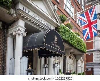LONDON- MAY, 2018: Exterior of the Goring Hotel. A luxury and historic hotel in the Belgravia area of Westminster.