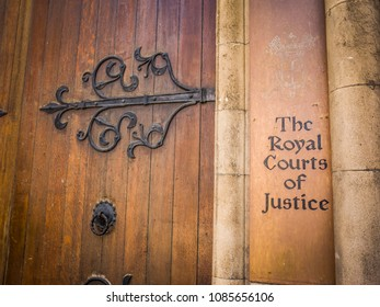 LONDON- MAY, 2018: Exterior of the Royal Courts of Justice building on the Strand in central London, home to the UK's High Court and Court of Appeal
