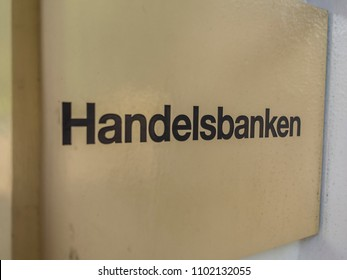 LONDON- MAY, 2018: Handelsbanken signage outside Knightsbridge office- a Swedish banking services company with over 200 UK branches