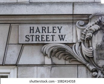 LONDON- MAY, 2018: Harley Street in Marylebone, London. Street sign of famous London street notable for its many private medical specialists