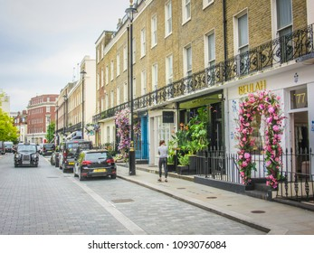 LONDON- MAY, 2018: High Street shops on Elizabeth  Street in Belgravia, an upmarket shopping street close to Victoria Train station