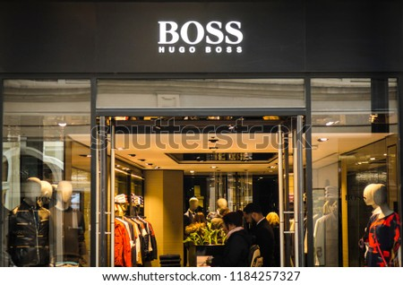 19f44ab1b25 LONDON MAY 2018 Hugo Boss Shop Stock Photo (Edit Now) 1184257327 ...