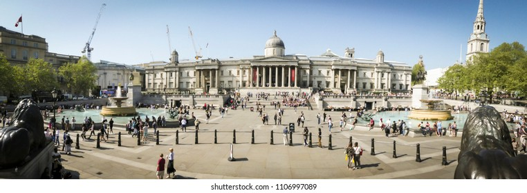 LONDON- MAY, 2018: Panoramic view of the National Portrait Gallery, one of London's most visited museums on Trafalgar Square
