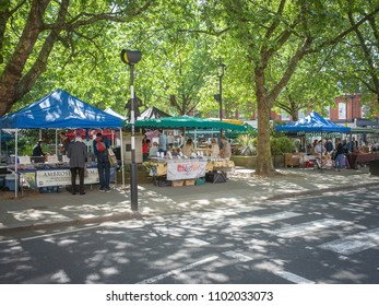 LONDON- MAY, 2018: The Pimlico Road Farmers Market in Belgravia- a weekly market set in attractive square selling fresh, home made and organic produce