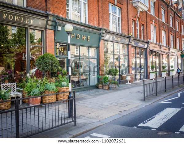 LONDON- MAY, 2018: Pimlico Road in Belgravia west London- an area of upmarket high street shops including antique sellers, galleries and interior designers