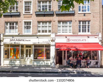 LONDON- MAY, 2018: Shops on Pimlico Road in Belgravia west London- an area of upmarket high street shops including antique sellers, galleries and interior designers