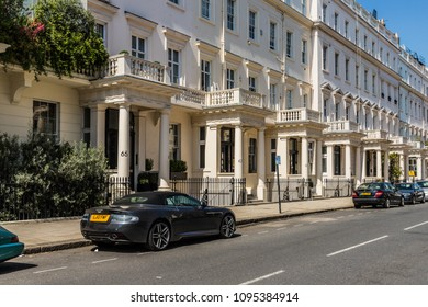 London. May 2018. A view of affluent houses on Eaton place,  in Belgravia, London.