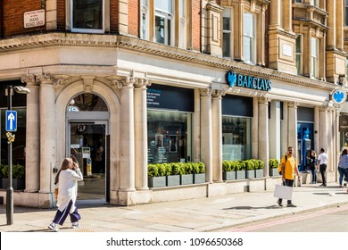 London. May 2018. A view of the Barclays Bank , on Brompton Road, in Knightsbridge, London.
