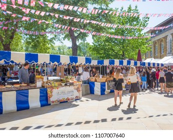 LONDON- MAY, 2018:  View of Chelsea Farmers Market stalls and people, Kings Road.