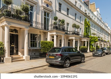 London. May 2018. A view of Chester Row , one of the most affluent streets in Belgravia, London.