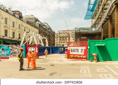 London. May 2018. A view of the Crossrail construction site, at Liverpool street station , in the City of London.