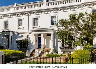 London. May 2018. A view of a house in Egerton Terrace, in Knightsbridge, London.
