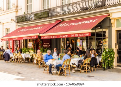London. may 2018. A view of Motcombs restaurant, on Motcomb street , in Belgravia, London.
