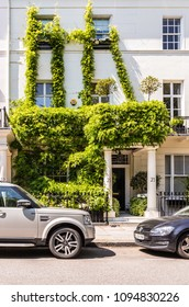 London. May 2018. A view of a pretty house, on one of the most affluent streets in the Uk, Chester Square, in Belgravia. in Belgravia, London.