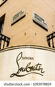 London. May, 2018.  A view of the sign above the Christian Louboutin store, in Motcomb street, in Knightsbridge, London.