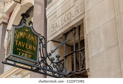 London. May 2018. A view of the Simpsons tavern sign in the City of london in London.