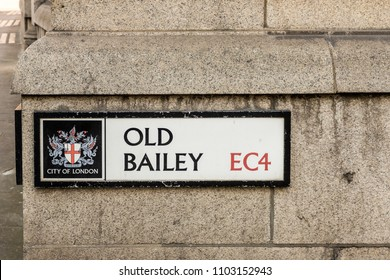 London. May 2018. A  view of the street sign to the Old bailey , in the city of London.
