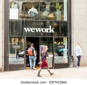 London. May 2018. A view of the we work  co sharing office space on Bishopsgate , in the City of London.